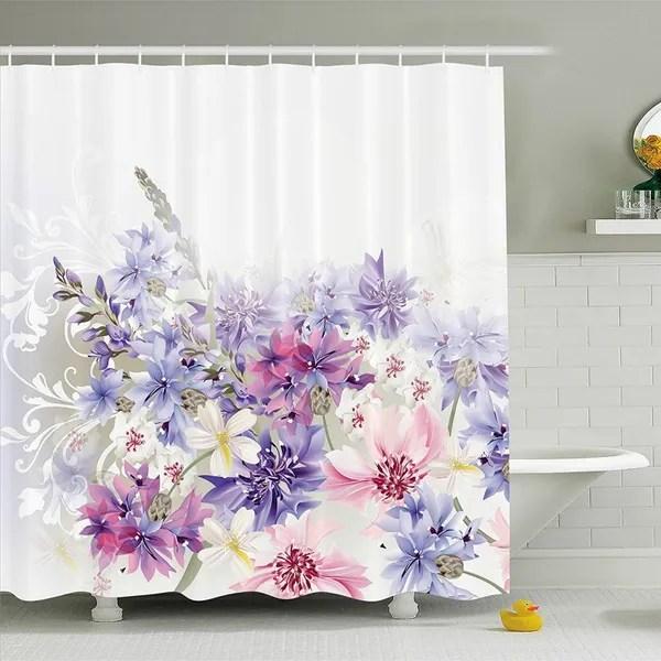 lavender shower curtain set pink purple cornflowers bridal classic design gentle floral art wedding decorations print fabric bathroom decor with