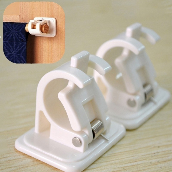 useful hanging rod end hanging clips adhesive wall hanging curtain hanging rod clip hook suction box packaging wish