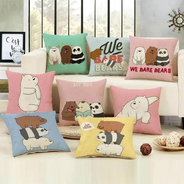 cute we bare bears pillow case bedroom oreiller kissen almofada cushion cover decorative pillow cover anime throw pillow case soft cartoon pillow case