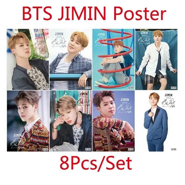 8pcs set bts member jimin wall poster photo bangtan boys wallpaper wish