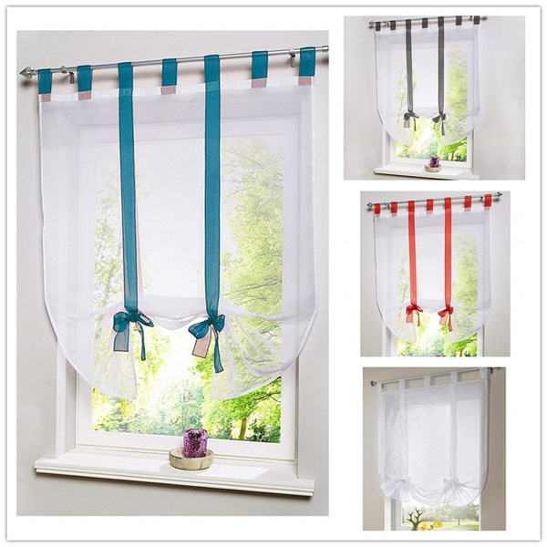 translucent window curtain rod included kitchen room door butterfly drape drawstring voile curtains with ribbon roman curtain roman blind drape home