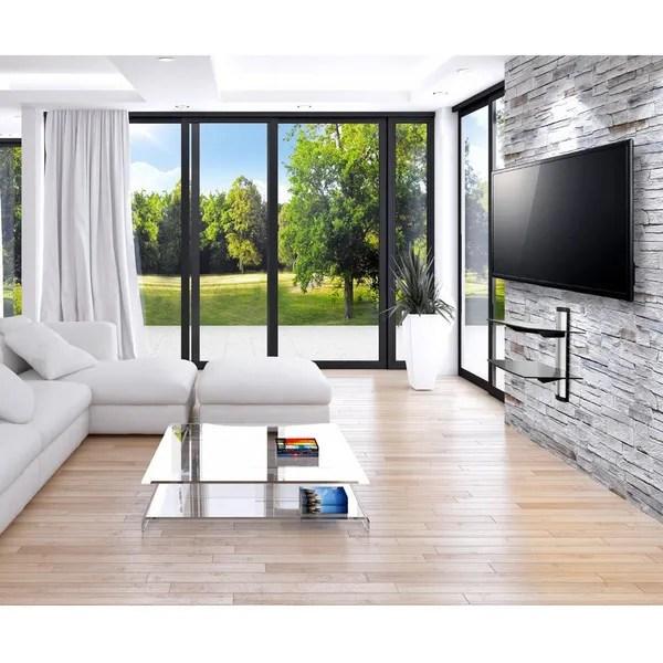 etagere murale tablette mural pour support tv 2 etageres design reglable en verre fr wish