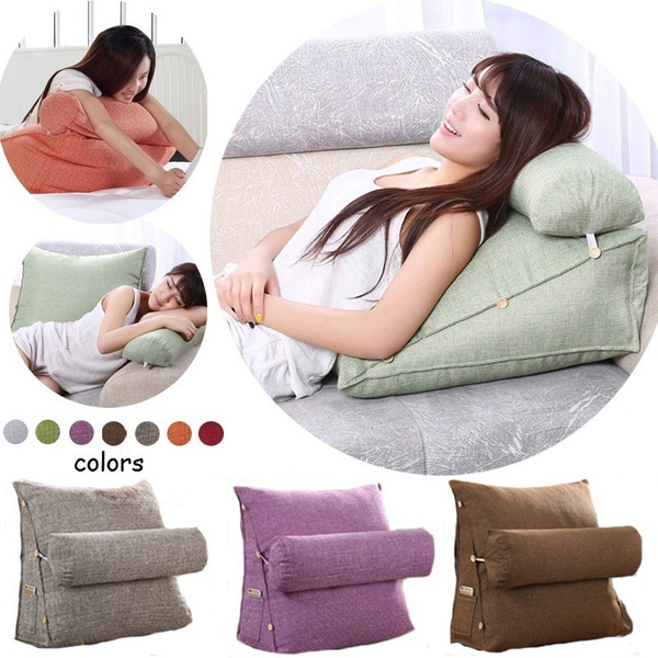 adjustable cover washable bed rest lumbar pillow reading wedge support back pillow seat cushion chair car wish