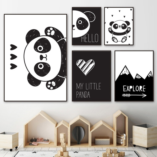 Lovely Panda Wall Art Canvas Painting Black White Cartoon Nordic Posters And Prints Canvas Picture Kids Baby Room Bedroom Decor Wish