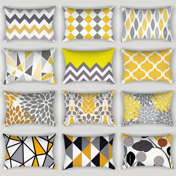 rectangle pillow rectangular pillow cover classic home decoration art yellow gray geometric pillowcase linen blended throw pillow cases car sofa