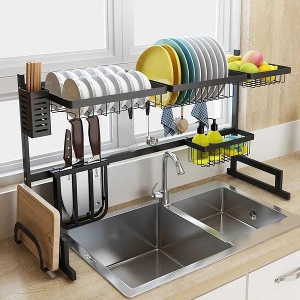 stainless steel kitchen sink rack dish shelf organizer utensils tableware drying storage supplies drain rack wish