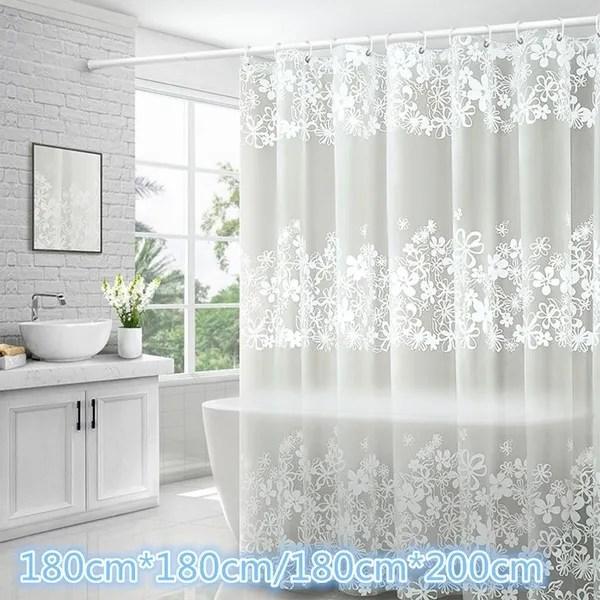 bathroom waterproof shower curtains transparent floral shower curtain peva plastic hooks white flower bath curtain wish