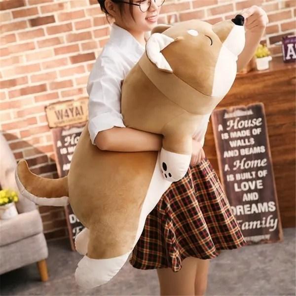 40 90cm cartoon lying plush stuffed dog pillows big toys shiba inu dog doll lovely animal birthday gift plush pillow for children wish