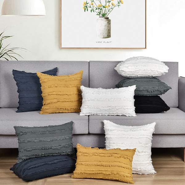 mustard yellow white black blue cotton linen throw pillow covers for couch sofa bed decorative throws cushion covers 18 x 18 inches set of 2 wish