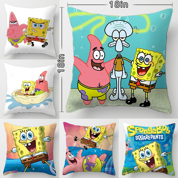 cartoon spongebob squarepants sofa car bed pillow case bedroom decoration spongebob cushion cover taie d oreiller calin bonhomme de neige wish