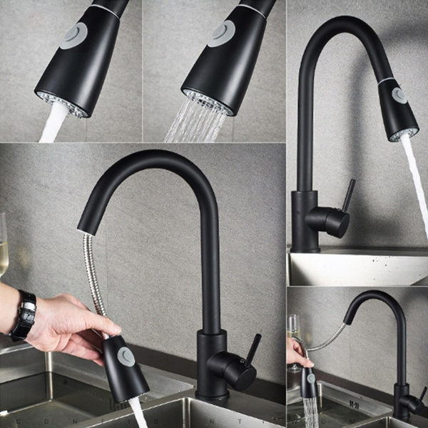 brushed nickel mixer faucet single hole pull out spout kitchen sink mixer tap with stream sprayer head chrome black kitchen tap robinet wish