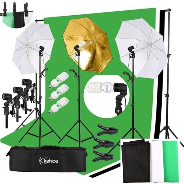kshioe photo photography umbrella lighting kit studio light bulb backdrop stand wish