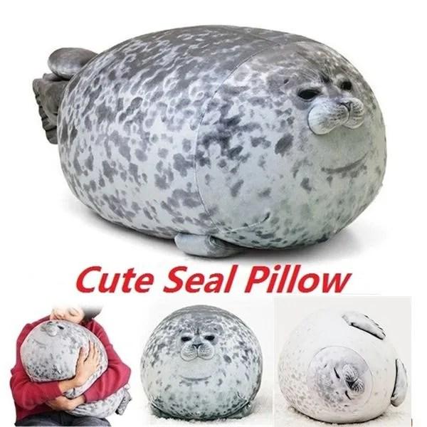 chubby seal pillow soft bean bag sleeping pillow cute seal plush toys stuffed sea world animal doll toy christmas gift for kids wish