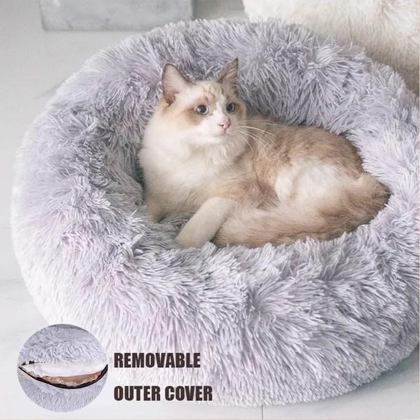 chien lit chaud tapis de chien rond coussin grande taille panier lavable pour chat animaux de deluxe moelleux lit pour animal fermeture a glissiere