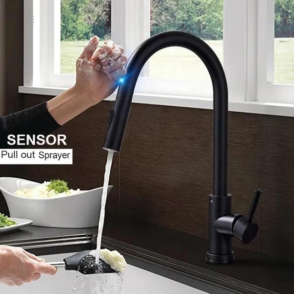 matte black brushed nickel brushed gold sensor kitchen faucet sensitive smart touch control faucet mixer tap touch sensor smart kitchen tap wish
