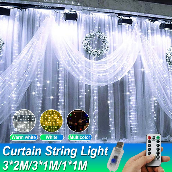 3x2m 3x1m 1x1m window curtain string lights remote controller usb charging fairy light for party christmas home garden bedroom wall decorations