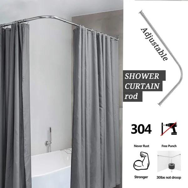curved curtain rod 6 size stainless steel adjustable shower curtain rod bathroom shower room bars rail rod wish