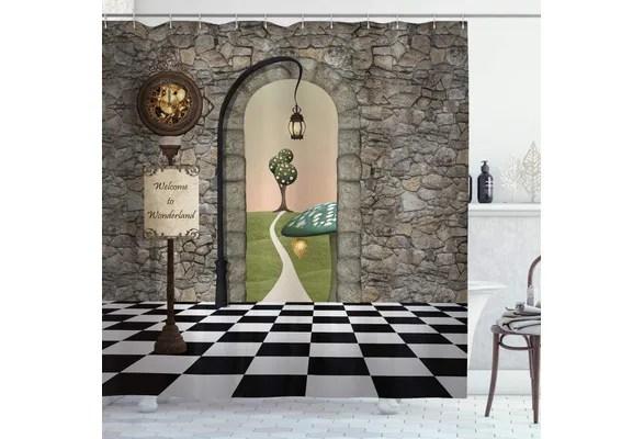 alice in wonderland shower curtain welcome wonderland black and white floor landscape mushroom lantern cloth fabric bathroom decor set with hooks