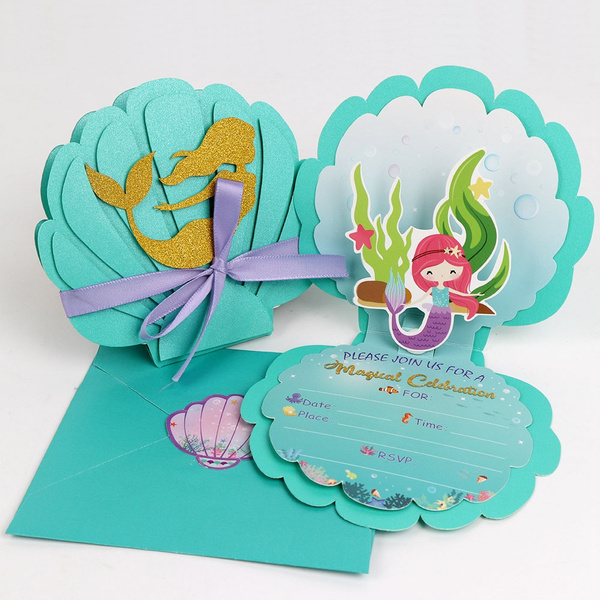 ourwarm 12pcs mermaid invitation cards kids girls theme birthday invitation card with envelopes baby shower pool party supplies wish
