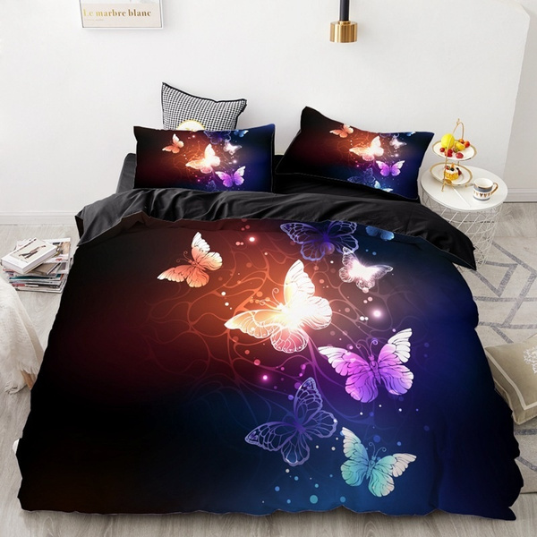 new butterfly bedding set luxury 3d butterfly printed bedding set soft duvet cover black bedding comforter quilt duvet cover with pillow case bedding