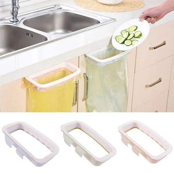 1 pc kitchen sink trash bags garbage disposal plastic rubbish bag storage rack holder for cupboard cabinet hanger wish