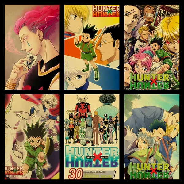 buy three to send one hunter x hunter poster popular japanese classic animated family poster kraft paperwall retro posters for home bar cafe room wall