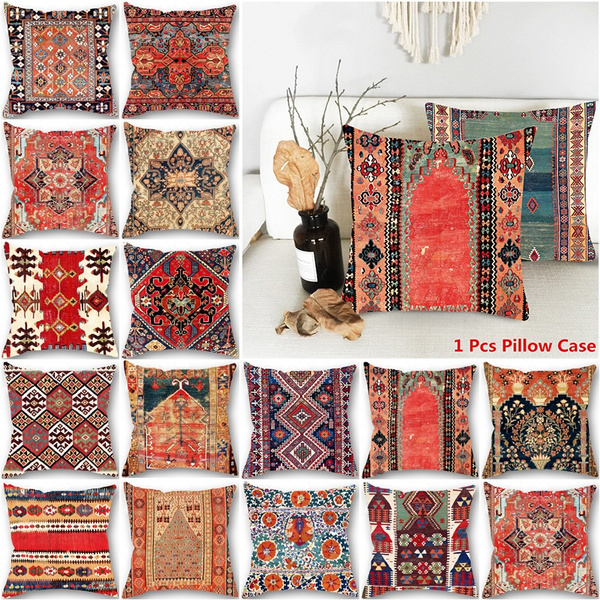 vintage ethnic boho antique persian geometry pattern square sofa car pillow covers home decor without pillow inner 45cmx45cm wish