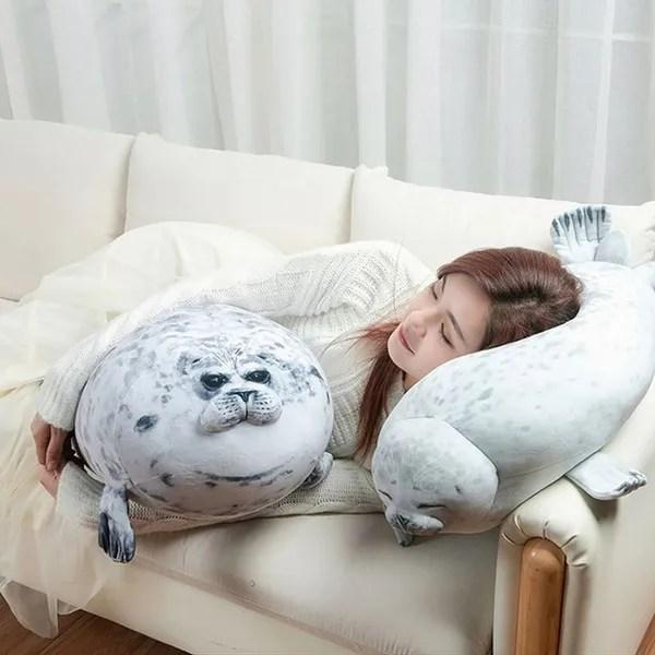 seal pillow 3d cute plush novelty throw pillows soft seal plush stuffed plush housewarming party stuffed animals plush toys wish