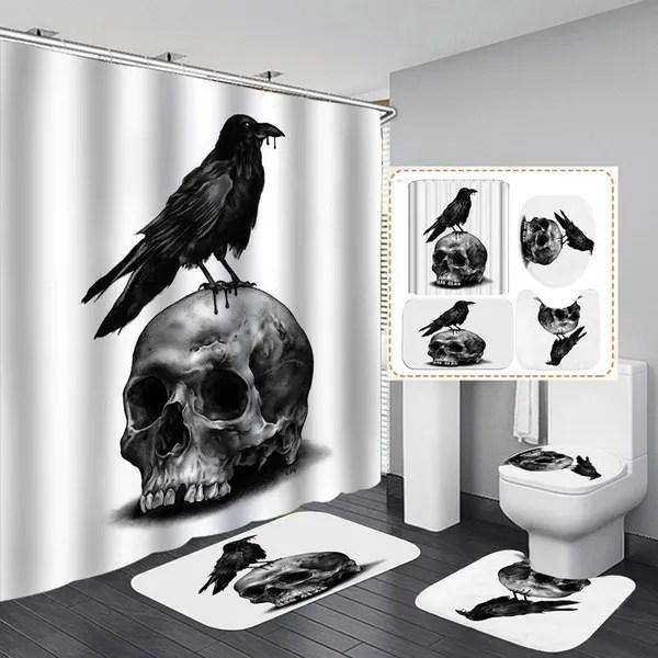 raven skull white shower curtain bath mat toilet cover rug bathroom decor set wish