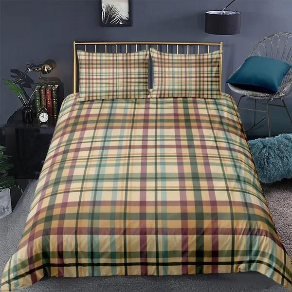 plaid bedding set us uk au de size tartan pattern in autumn tones old fashioned design illustration comforter cover decorative 3 pieces 1 duvet cover