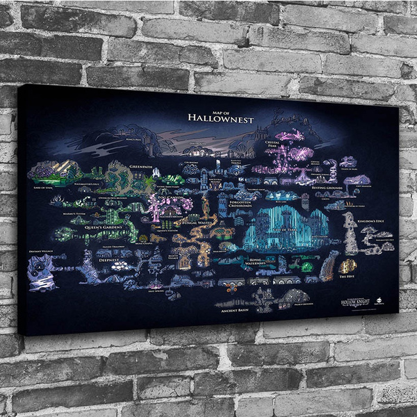 1p hd printing modern home mural hollow knight map poster painting mural art poster decoration no framed wish
