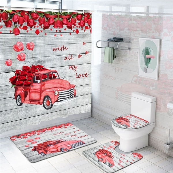 valentine s day shower curtains red truck car with watercolor rose flower for romantic festival bath curtain rug set wish