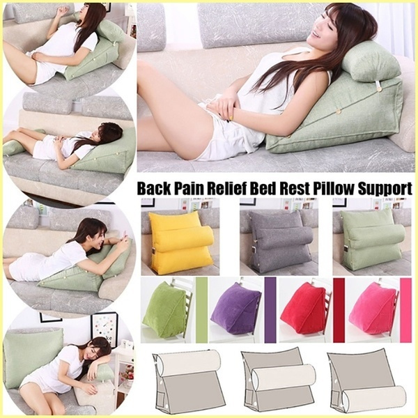 back pain relief pillow bed rest back pillow support tv reading back rest seat soft sofa office chair living room cushion home decor wish