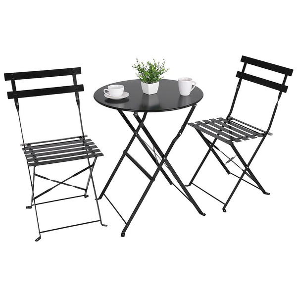 grand patio premium steel patio bistro set folding outdoor patio furniture sets 3 piece patio set of foldable patio table and chairs black wish