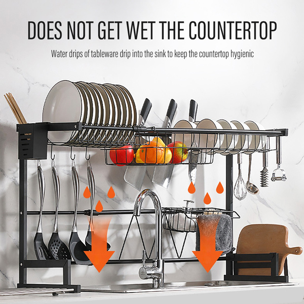 fits for both single and double sink 2 tier 66 96cm adjustable telescopic over sink dish drying rack display stand dish drainer kitchen utensils