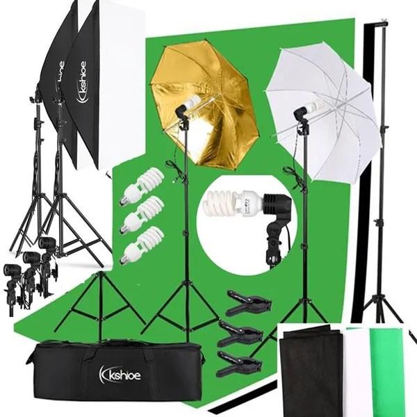 kshioe photo video studio photography continuous lighting kit muslin backdrop stand set wish