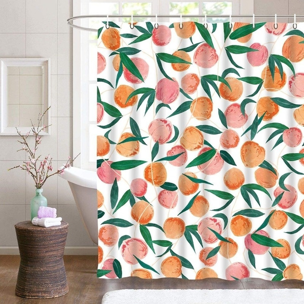 peach shower curtains allover fruits shower curtain cute bright colorful design waterproof fabric bathroom shower curtain set with 12 hooks peachy