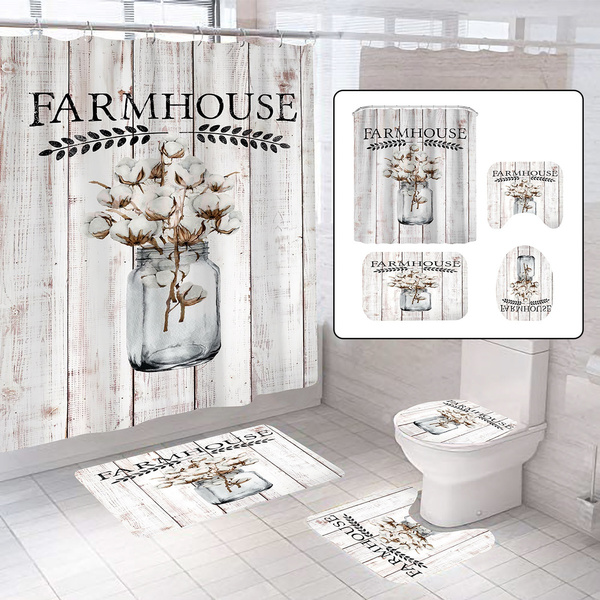antique farmhouse waterproof bathroom shower curtain non slip bath mat toilet seat cover carpet rugs set wall decor wish
