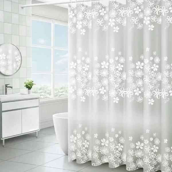 white flower bathroom waterproof shower curtains transparent floral shower curtain peva plastic hooks bath curtain wish