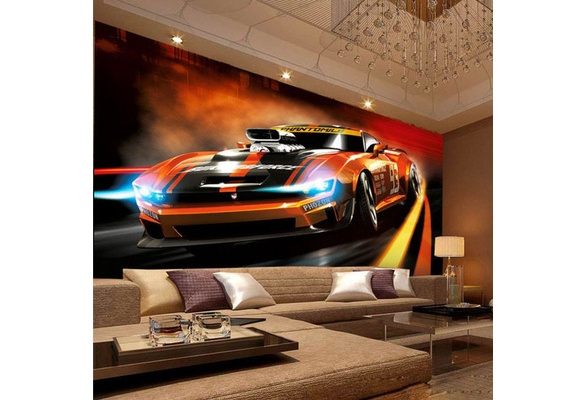 Interior designer, cathy hobbs, shares how to make statement wallpapers work in any room of the house. Photo Wallpaper Modern Creative Yellow Sport Car 3d Stereo Mural Living Room Bedroom Interior Design Wall Papers Papel De Parede 1 Mama