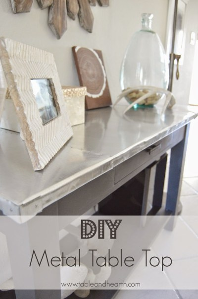 DIY metal table top {Table and Hearth}