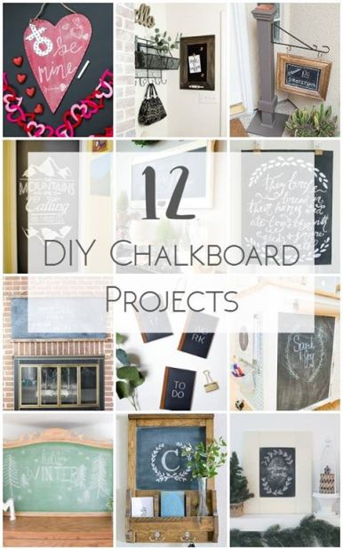 12 unique chalkboard ideas. More pictures and full tutorials for each project. http://canarystreetcrafts.com/