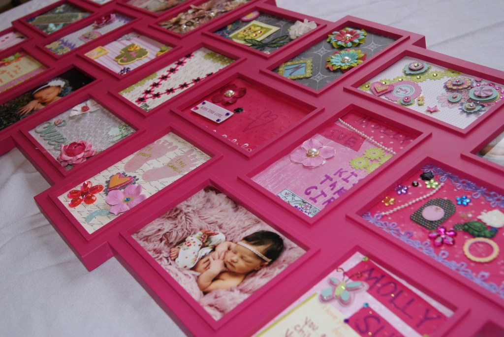 Baby shower craft idea.  Everyone decorates a scrapbook page for a framed collage to hang in the baby's room