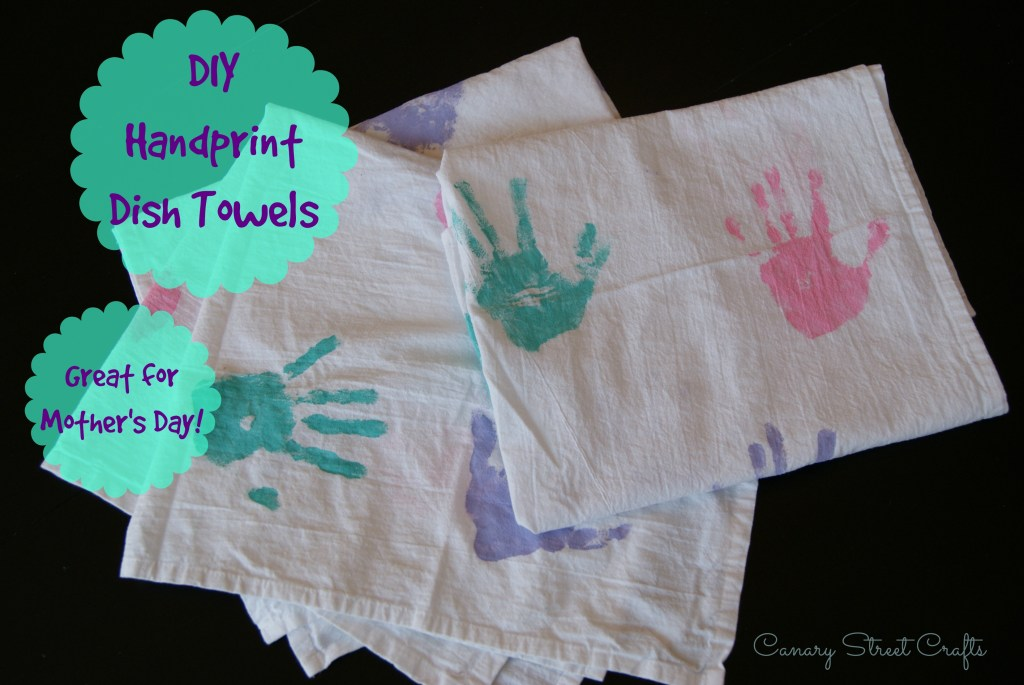 DIY handprint dish towel - Canary Street Crafts