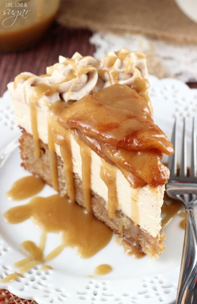 Caramel Apple Blondie Cheesecake from {Life, Love & Sugar}