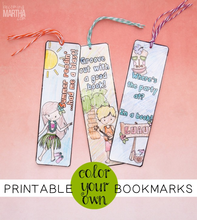 color your own printable bookmarks from becomingmartha.com