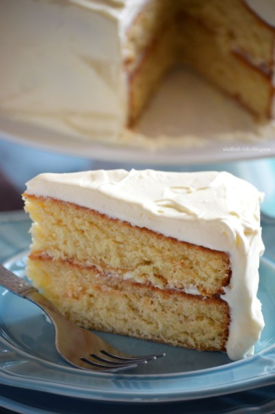Eggnog Cake With White Chocolate Ganache Whipped Cream Frosting from {What The Fork Food Blog}