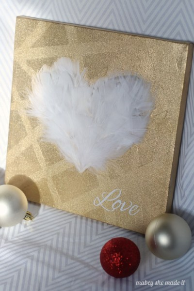Feathered heart canvas via Mabey She Made It