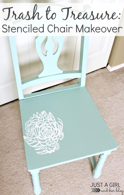 Stenciled-Chair-Makeover- {Just A Girl And Her Blog}