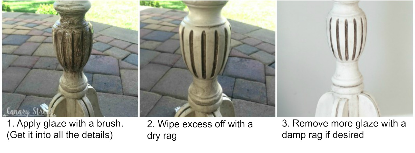 How to apply dark glaze and why to use glaze instead of wax.  http://canarystreetcrafts.com/